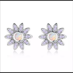 Light Lilac Crystal and Opal Flower Stud Earrings